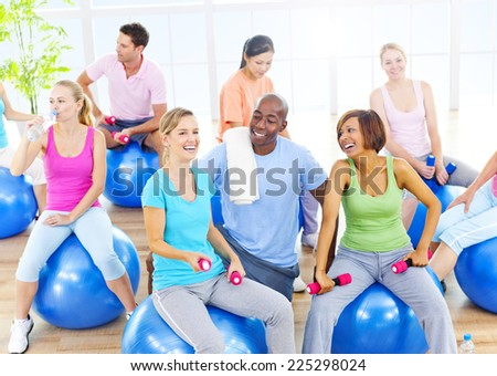Group of Healthy People in Fitness - stock photo