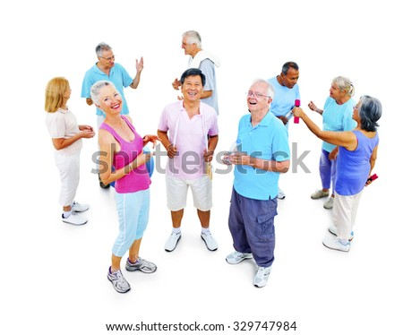 Group of Healthy People in the Fitness Exercising Concept