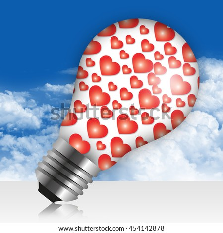 Group of Heart Icon Inside Light Bulb in Blue Sky Background - stock photo