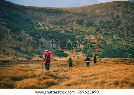 Group of hikers in the Carpathians mountains in Ukraine