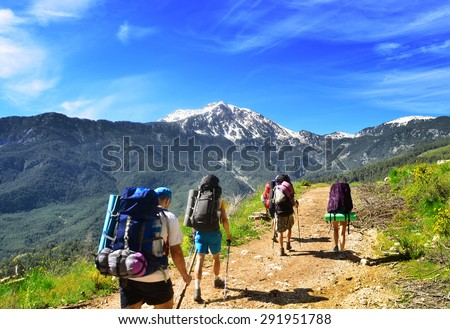 Group of hikers , view of Tahtali  mountain in Turkey - stock photo