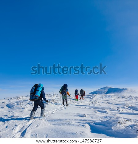 group of hikers walk by a winter plain