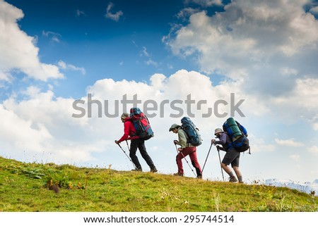 Group of hikers walking in mountains - stock photo
