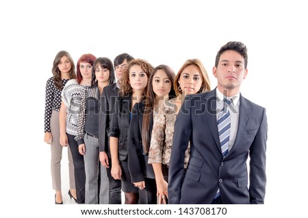 Group of hispanic business people serious - stock photo