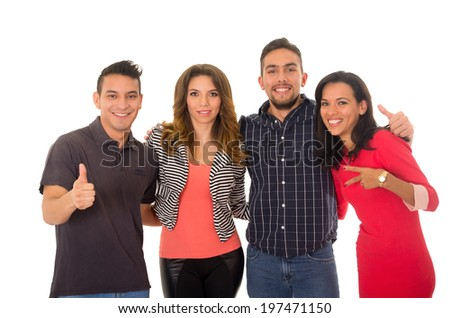 group of hispanic people in a white background - stock photo
