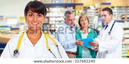 Group of hospital doctors. Health care medical background. - stock photo