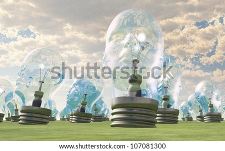 Group of human head lightbulbs in landscape - stock photo