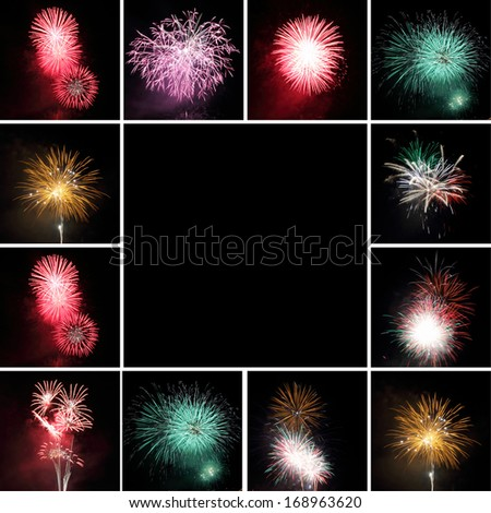 group of images   with fireworks and space for text - stock photo