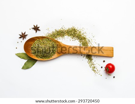 Group of indian spices and herbs on white background, Top view mix indian spices and herbs difference ware on white background with copy space for design vegetable, spices, herbs or foods content. - stock photo