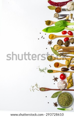 Group of indian spices and herbs on white background, Top view mix indian spices and herbs difference ware on white background with copy space for design vegetable, spices, herbs or foods content.