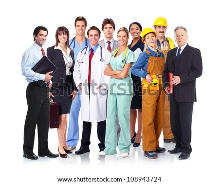Group of industrial workers. Business team. Isolated over white background. - stock photo