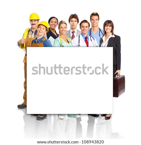 Group of industrial workers with a banner. Isolated over white background. - stock photo