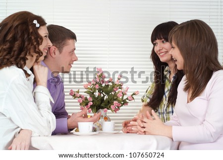 Group of interesting  young people had a great time with each other - stock photo