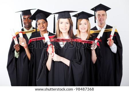 group of international graduates on white background - stock photo