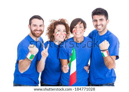 Group of Italian Supporters - stock photo