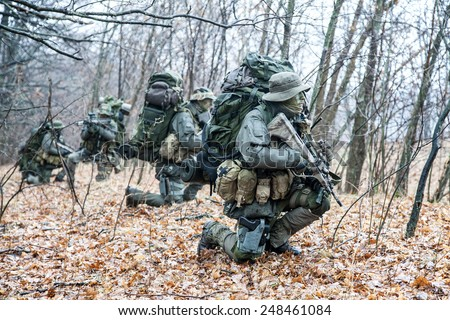 Group of jagdkommando soldiers Austrian special forces during the raid  - stock photo
