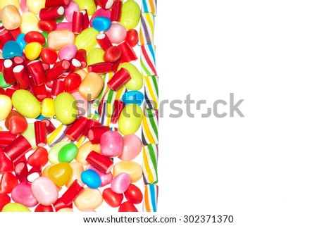 Group of jelly beans with space to insert text