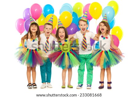Group of joyful little kids having fun at birthday party. Isolated on white background. Holidays, birthday concept. - stock photo