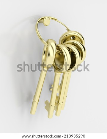 Group of keys attached on wall - stock photo
