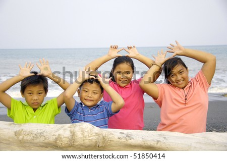 group of kid having fun together