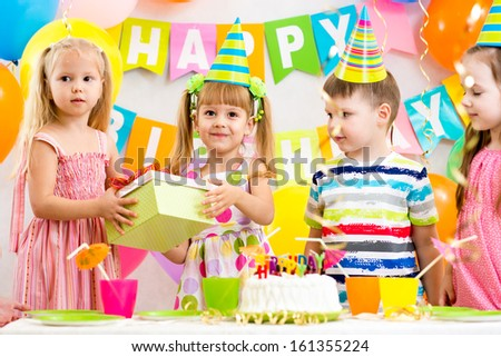 group of kids at birthday party - stock photo
