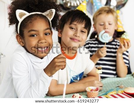 Group of kids celebrate birthday party together