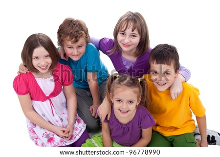 Group of kids - friends forever, top view - stock photo