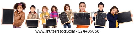 group of kids holding a black board
