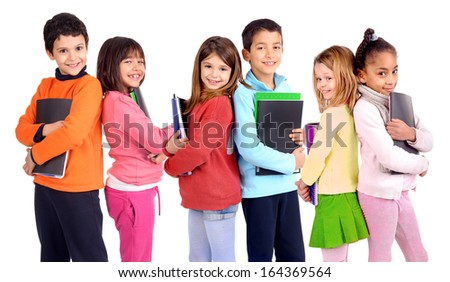group of kids holding school books isolated in white