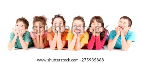 group of kids isolated in white - stock photo