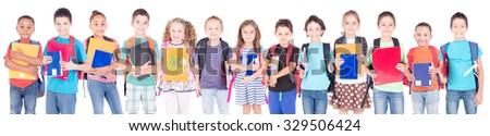 group of kids isolated in white background at school - stock photo
