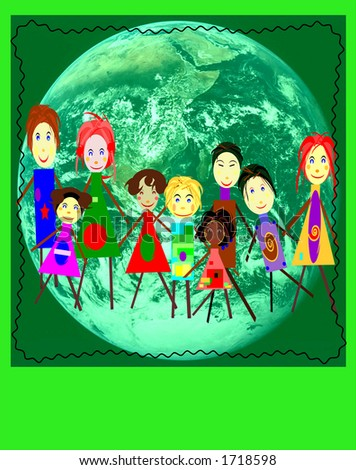 Group of kids on a planet earth background