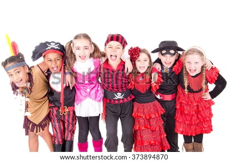group of kids on halloween isolated in white