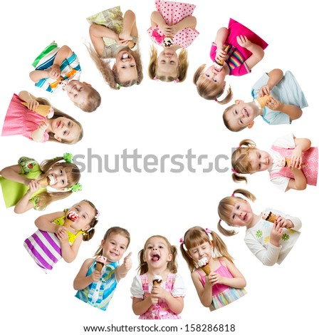 Group of kids or children eating ice cream in circle - stock photo