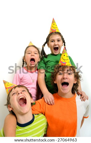 Group of kids with party horn screaming, white background - stock photo