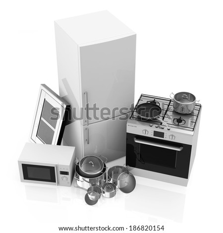 Group of Kitchen Appliances. Refrigerator, Gas cooker, Microwave, Cooker hood and Group of Steel Pans isolated on white background - stock photo