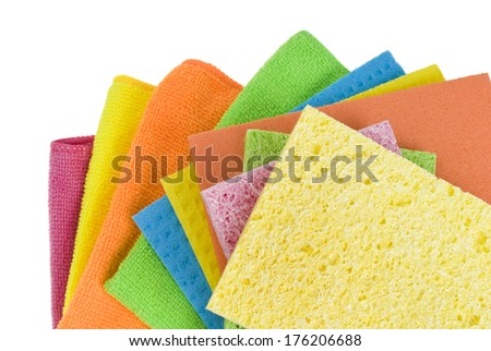 Group of kitchen sponges isolated on the white background - stock photo