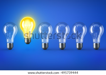 Group of lamp bulbs on blue background. 3D illustration