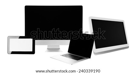 Group of laptop, tablet and phone isolated on white - stock photo
