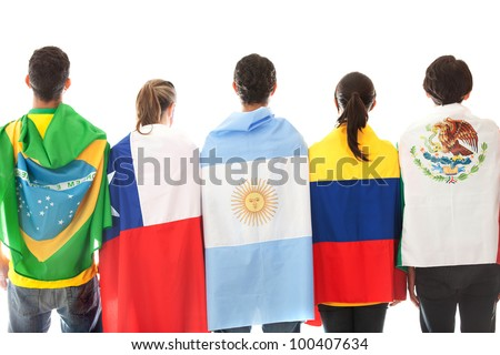Group of Latinamerican people with the flags - isolated over a white background - stock photo