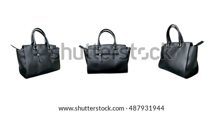 Group of leather woman bag isolated on white background