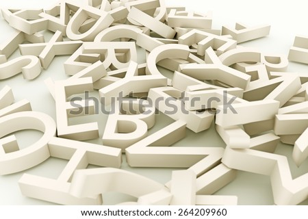 group of letters on white floor - stock photo