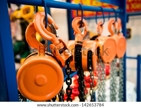 Group of lifting hook equipment. - stock photo