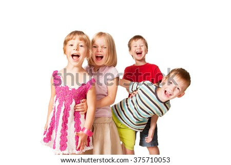 Group of little children having fun. Isolated on white background
