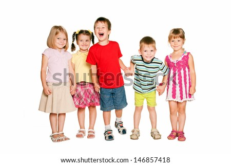 Group of little children holding hands and smiling. Friendship, school and union concept. Isolated on white background - stock photo