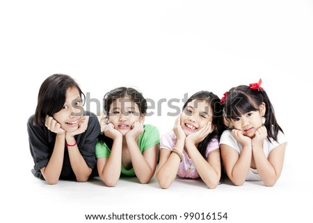 Group of little girl playing