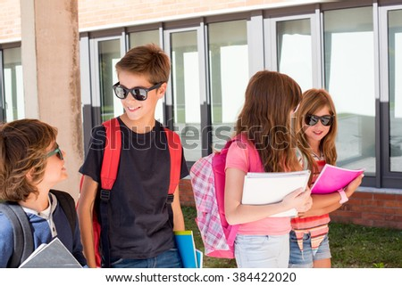 Group of little kids walking at School Campus