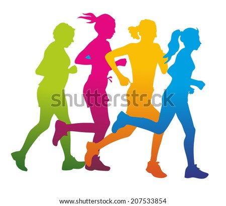 group of male and female runner as colorful silhouettes