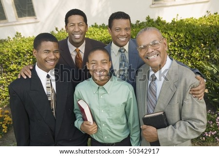 Group of male churchgoers, portrait