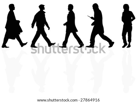 group of male shoppers and their reflection - stock photo